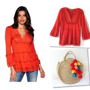 BOSTON PROPER POM POM CROCHET PLEATED TOP BLOUSE